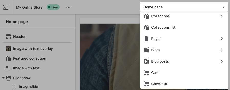Theme editor top bar drop-down menu